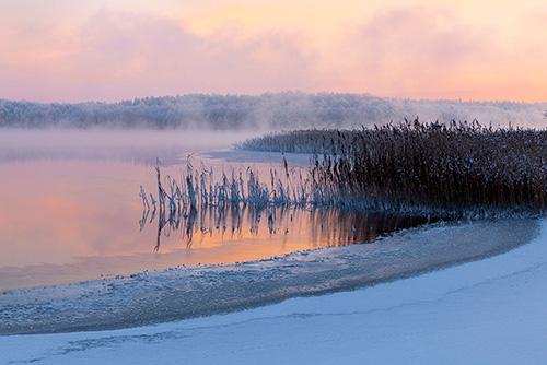 Jezioro we mgłach